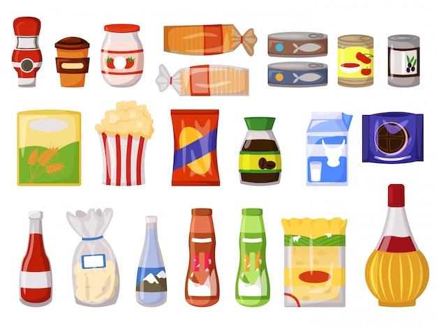 Paquete de bocadillos. comida rápida, comida enlatada, bebida láctea, salsa, café instantáneo, harina, pan en paquete, bolsa, caja, paquete doy, botella, lata, sachet aislado conjunto. ilustración de vector de producto y snack de supermercado Vector Premium