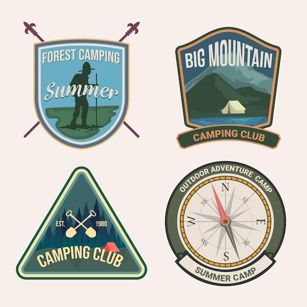 Paquete de camping y aventuras con insignias vintage vector gratuito