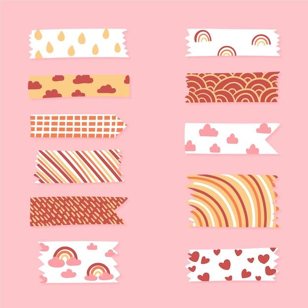 Paquete de cinta washi dibujada vector gratuito