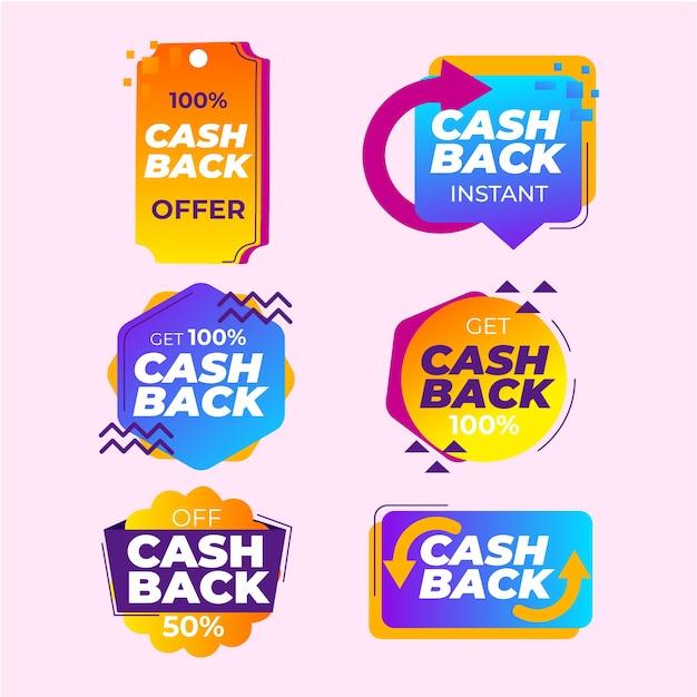 Paquete de colección de etiquetas de devolución de dinero vector gratuito