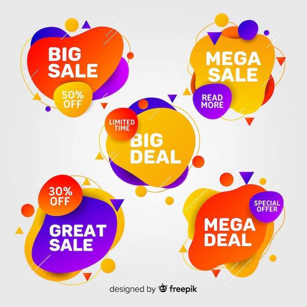 Paquete de coloridos carteles de venta abstracta vector gratuito