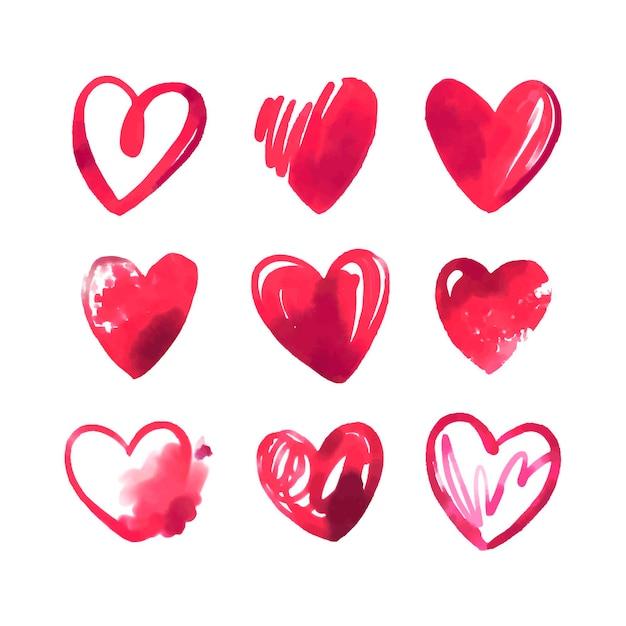 Paquete de corazón de ilustración dibujada a mano vector gratuito