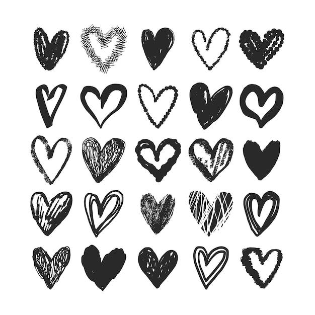 Paquete de corazones dibujados a mano vector gratuito