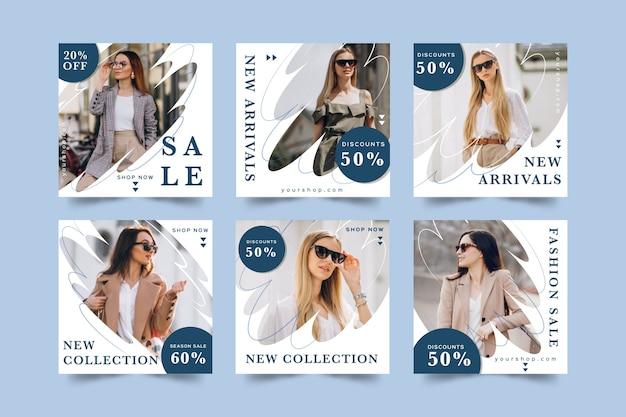 Paquete de correos de instagram de ventas vector gratuito
