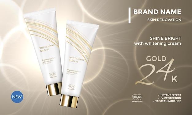 Paquete de cosméticos plantilla publicitaria cuidado de la piel crema hidratante crema facial Vector Premium