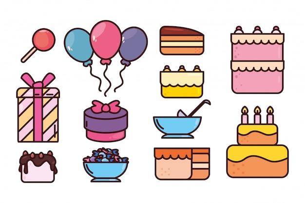 Paquete de cumpleaños con conjunto de iconos Vector Premium