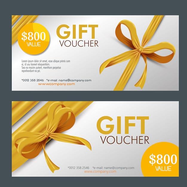 Paquete de cupones de regalo con cinta vector gratuito