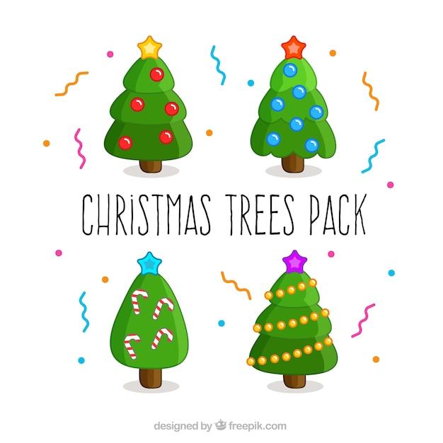 Paquete de rboles de navidad bonitos descargar vectores - Arboles de navidad bonitos ...