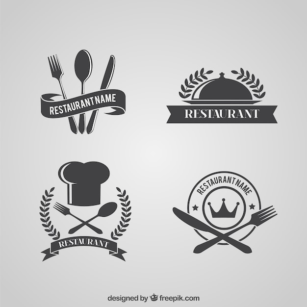 Paquete de logos retro de restaurante Vector Gratis