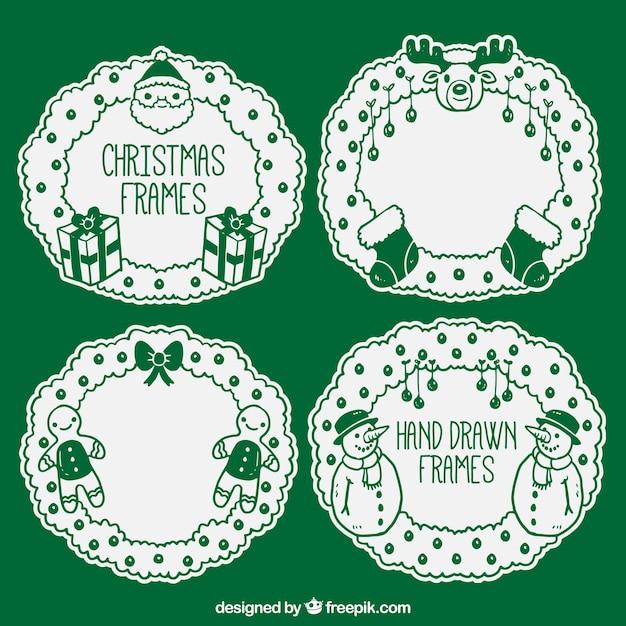Paquete de marcos verdes de navidad | Descargar Vectores gratis