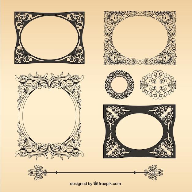 Paquete de marcos vintage vector descargar vectores gratis - Marcos de cuadros vintage ...