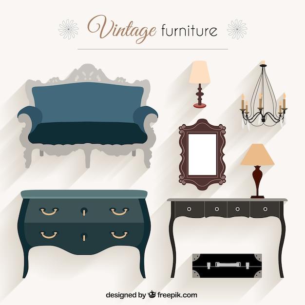 Paquete de muebles de poca descargar vectores gratis for Muebles de epoca
