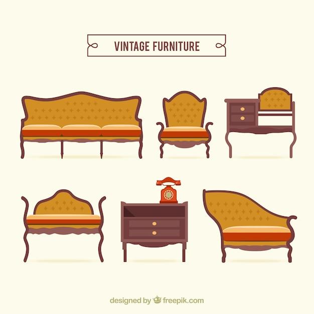 Paquete de muebles vintage   Descargar Vectores gratis