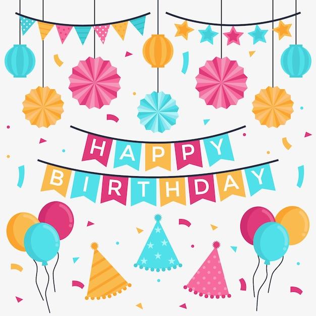 Paquete de decoración de cumpleaños vector gratuito