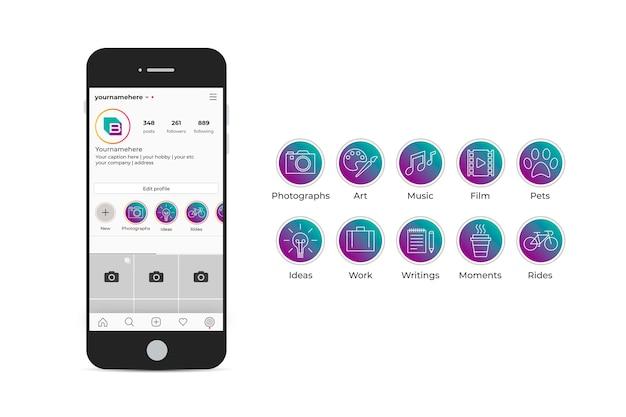 Paquete de destacados de gradiente de instagram vector gratuito