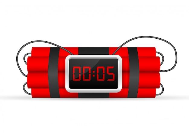 Paquete de dinamita roja con bomba de tiempo eléctrica Vector Premium