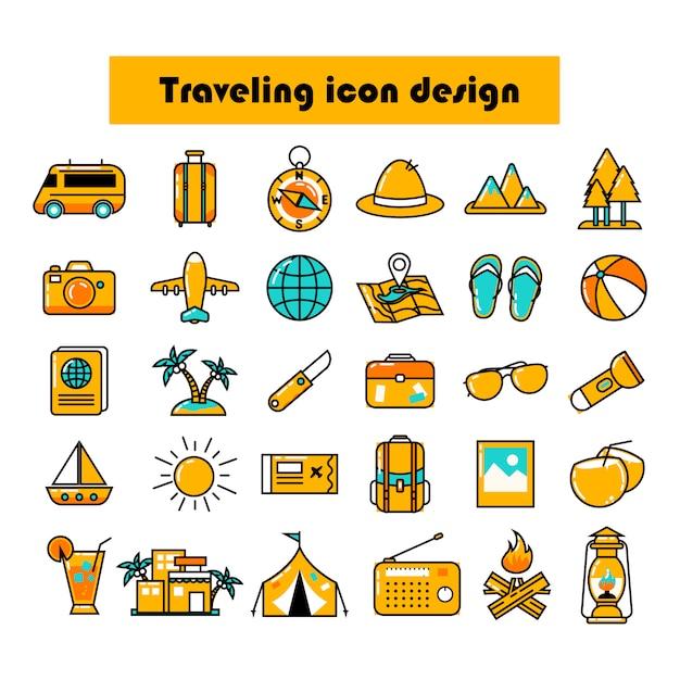 Paquete de diseño de iconos de viaje de color Vector Premium