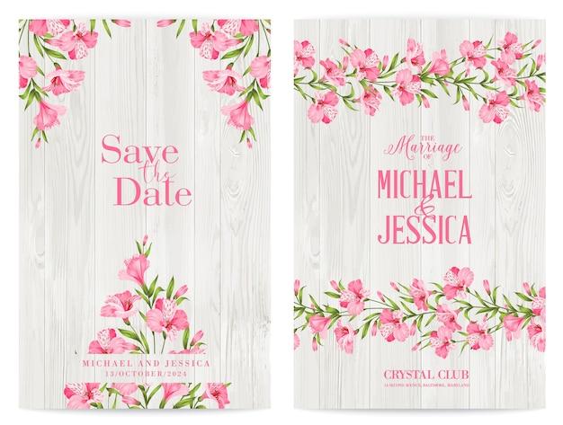 Paquete de diseño de invitación con flores tropicales y flamencos. vector gratuito