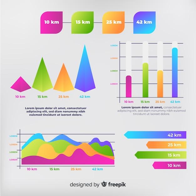 Paquete de elementos de infografía gradiente vector gratuito