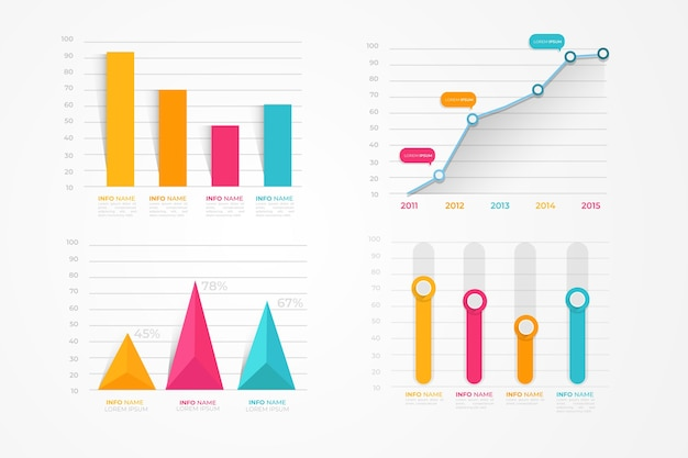 Paquete de elementos de infografía plana Vector Premium