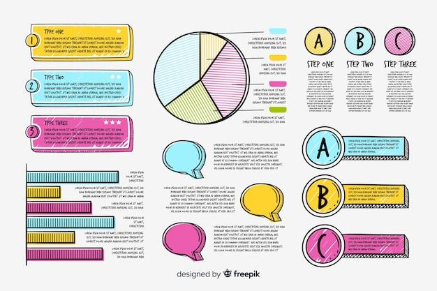 Paquete de elementos infográficos dibujados a mano vector gratuito