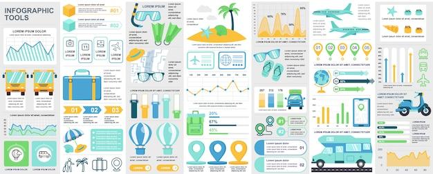 Paquete de elementos de ui, ux, kit de infografía de viaje con gráficos, diagramas, vacaciones de verano, diagrama de flujo, línea de tiempo de viaje, plantilla de elementos de iconos de viaje. conjunto de infografías. Vector Premium