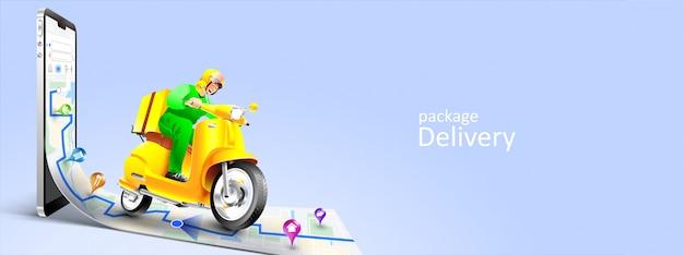 Paquete de entrega rápida por scooter en teléfono móvil. seguimiento de mensajería por aplicación de mapas Vector Premium