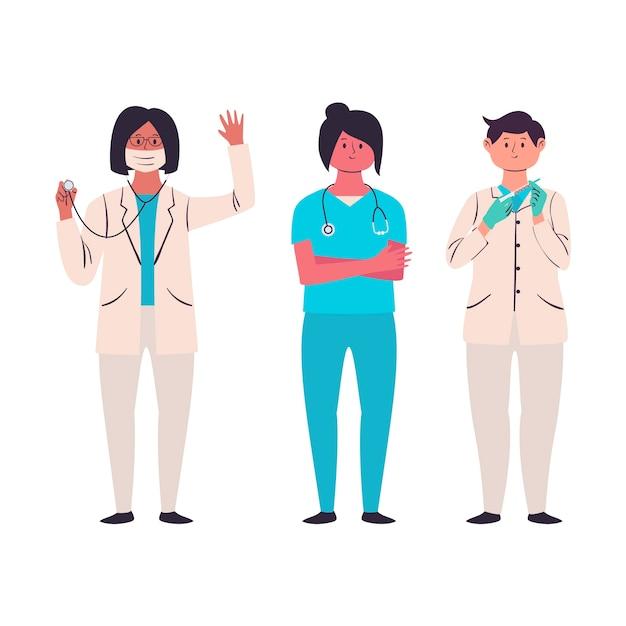 Paquete de equipo de profesionales de la salud vector gratuito