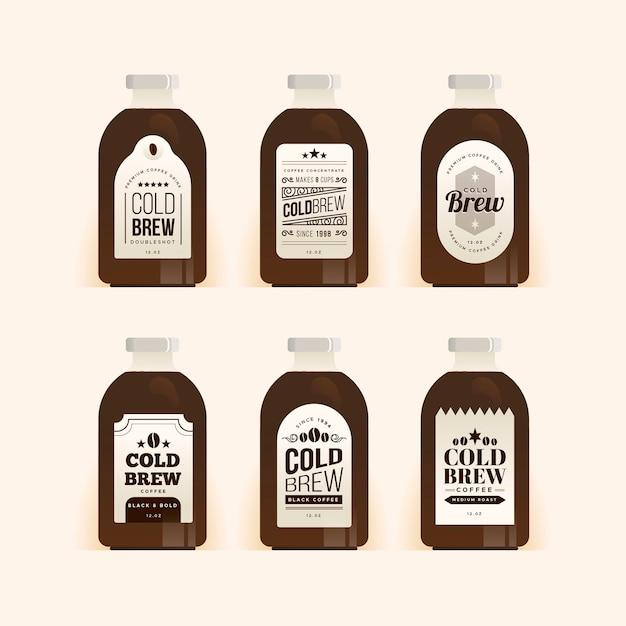 Paquete de etiquetas de café frío vector gratuito