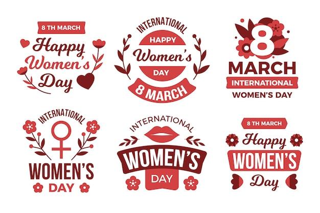 Paquete de etiquetas del día internacional de la mujer de diseño plano vector gratuito