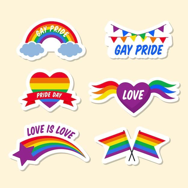 Paquete de etiquetas del día del orgullo vector gratuito