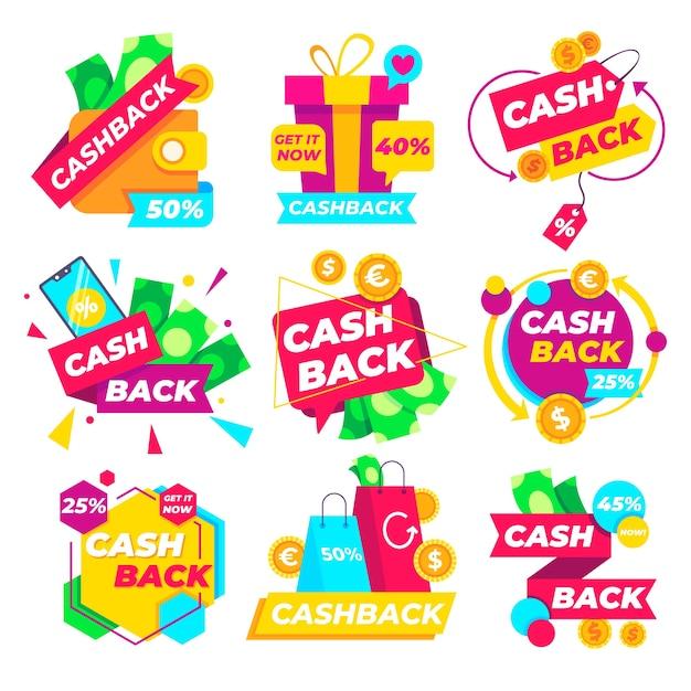 Paquete de etiquetas de marketing de devolución de dinero vector gratuito