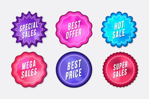 Paquete de etiquetas de promoción de ventas vector gratuito