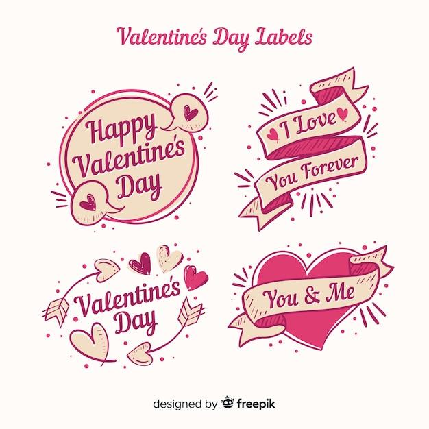 Paquete etiquetas san valentín vector gratuito