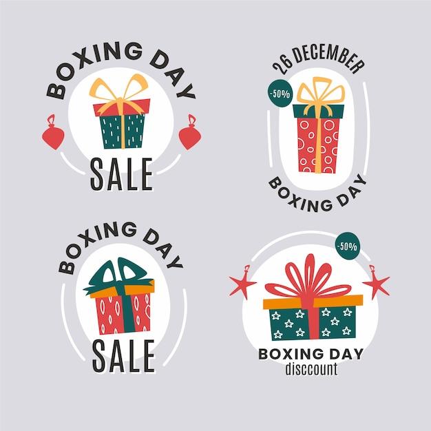 Paquete de etiquetas de venta de día de boxeo plano vector gratuito
