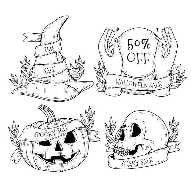 Paquete de etiquetas de venta de halloween dibujadas a mano vector gratuito