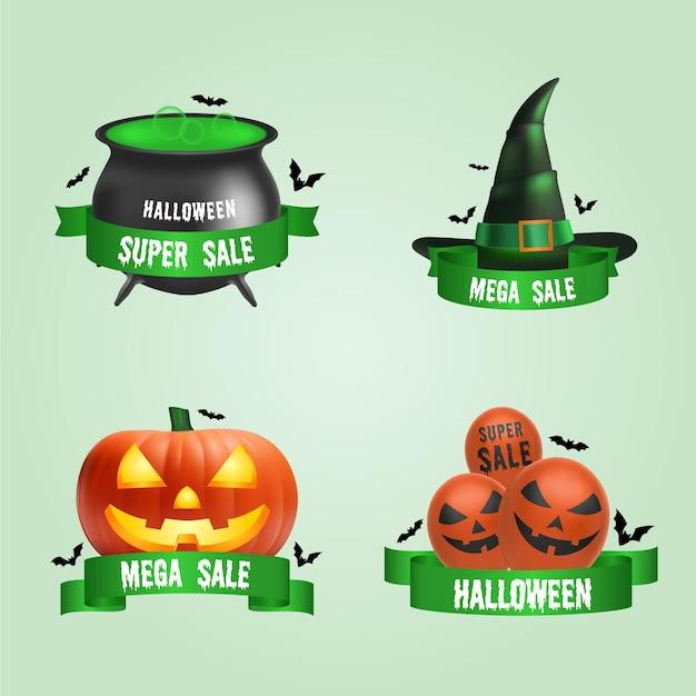 Paquete de etiquetas de venta de halloween vector gratuito