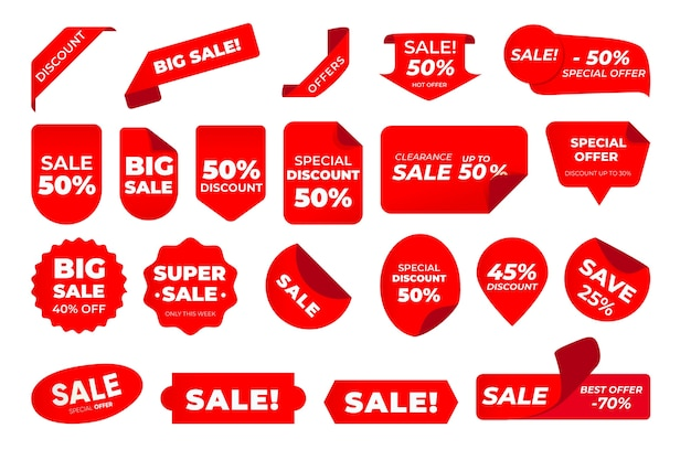Paquete de etiquetas de ventas vector gratuito
