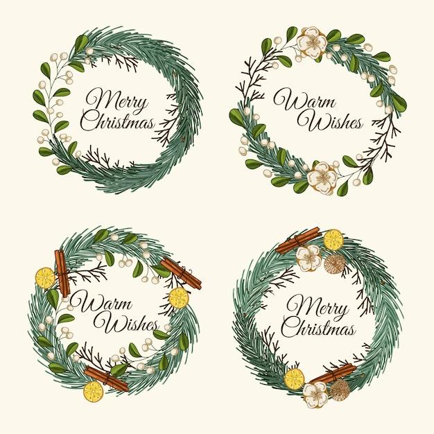 Paquete de flores y guirnaldas navideñas dibujadas a mano vector gratuito