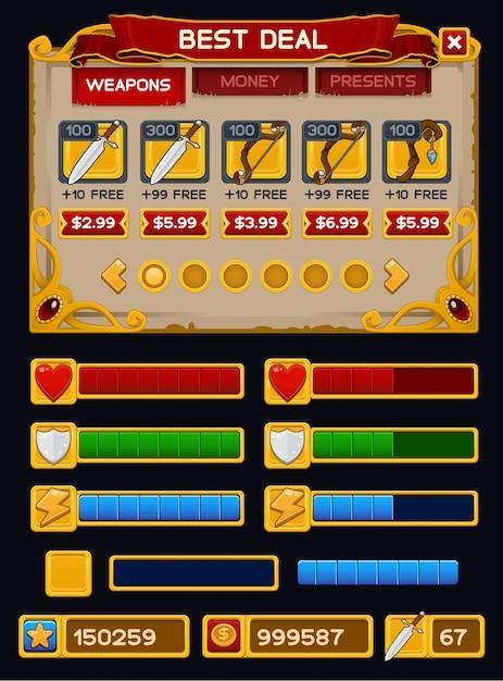 Paquete de gui de juego medieval Vector Premium