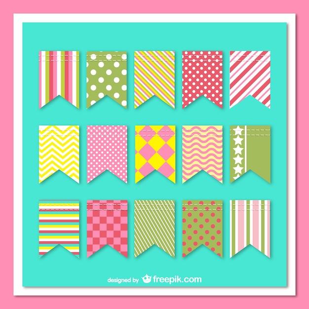 Paquete de guirnaldas con patrones de colores vector gratuito