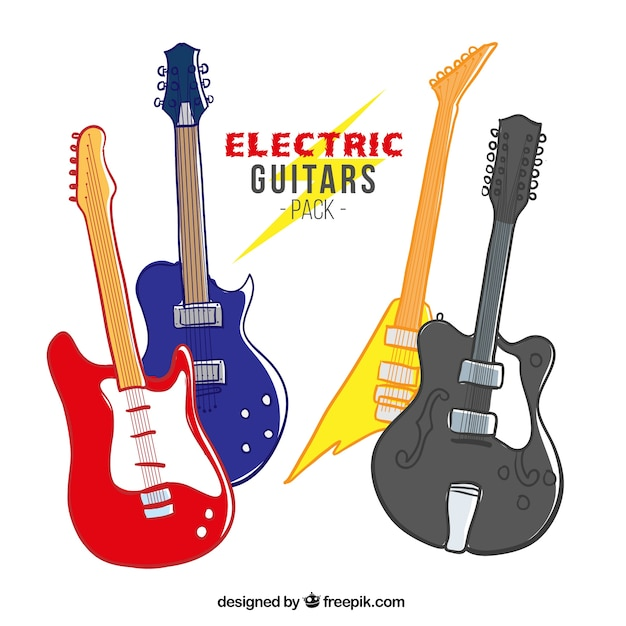 Paquete De Guitarras Eléctricas Dibujadas A Mano Vector Gratis