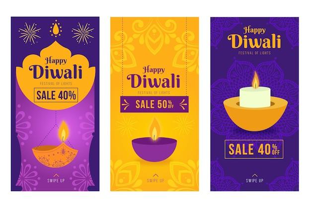Paquete de historias de instagram de rebajas de diwali vector gratuito