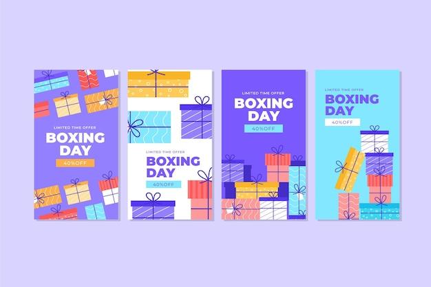 Paquete de historias de instagram de venta de boxing day Vector Premium