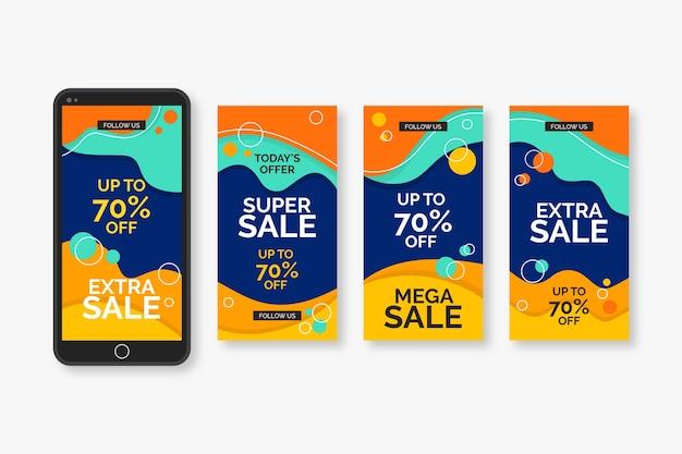 Paquete de historias de instagram de ventas vector gratuito