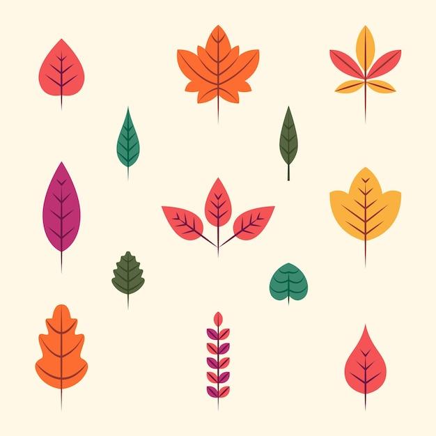 Paquete de hojas de otoño de diseño plano vector gratuito
