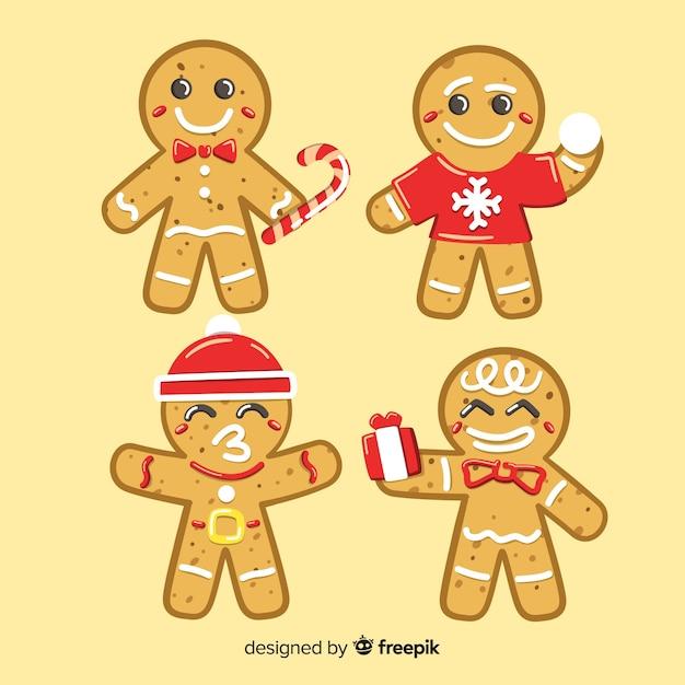 Paquete hombre pan de jengibre navideños en distintas posiciones vector gratuito