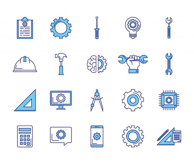 Paquete de iconos de conjunto de ingeniería vector gratuito