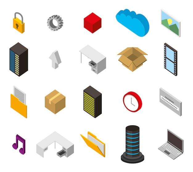 Paquete de iconos de conjunto isométrico de almacenamiento del centro de datos vector gratuito