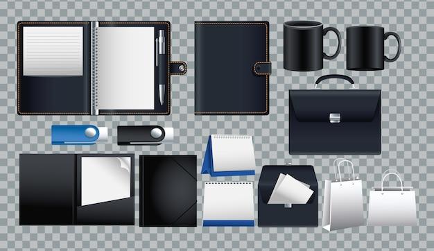 Paquete de iconos de conjunto de maquetas en diseño de ilustración de vector de fondo a cuadros Vector Premium
